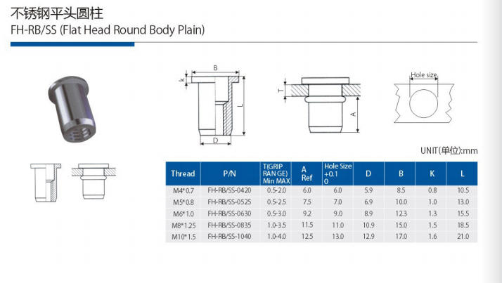 FLAT HEAD ROUND BODY (STAINLESS STEEL)